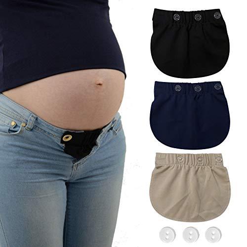 Extensores de cintura ajustables para mujeres embarazadas, 3 piezas (negro, azul y caqui)