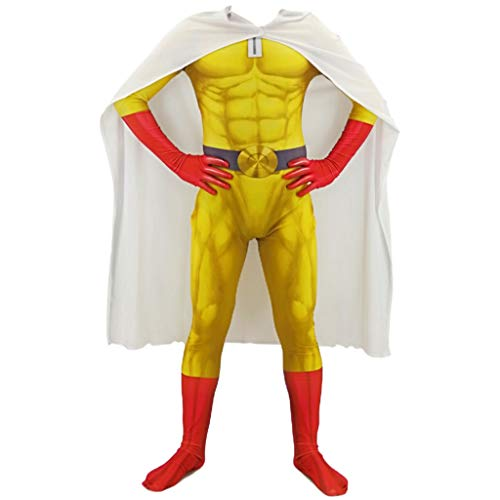 QWEASZER Japanischer Anime EIN Schlag Mann Saitama Erwachsenen Kostüm Kostüm PS4 Anime Zentai Kostüme Männer Superheld Cosplay Overall Onesies,Yellow-160~170cm