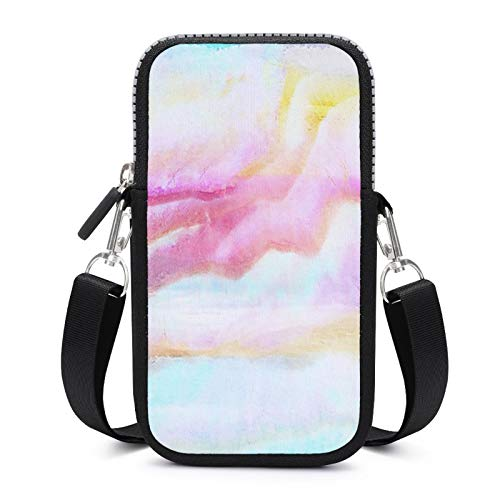 Cellphone Purse Crossbody with Removable Shoulder Strap Pink Painting Anti-fall Pouch Case for Phone Wrist Wallet Running Bags Girls