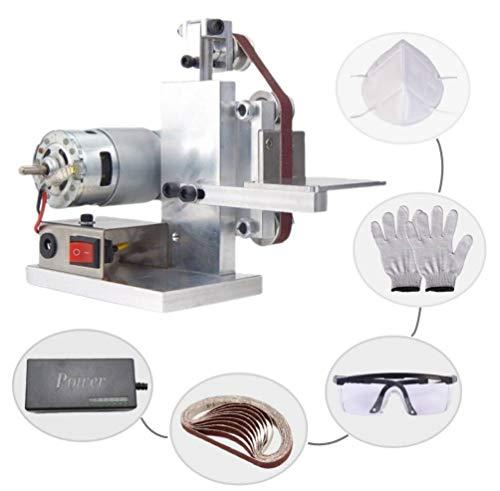 Huanyu Mini Bandschleifmaschine DIY Bandschleifer Micro Desktop Schleifmaschine Elektrische Poliermaschine DC12-24V | 7 Stufe Geschwindigkeitskontrolle | mit 10 Stücke Schleifbänder (330 * 10mm)