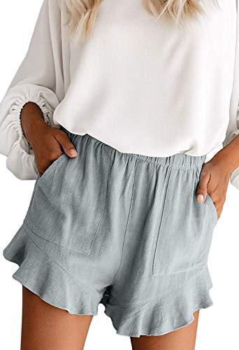 HUUSA Women's Petite Casual Comfy Fashion Elastic Waist Holiday Summer Beach Shorts Ruffle with Pockets Gray Blue M