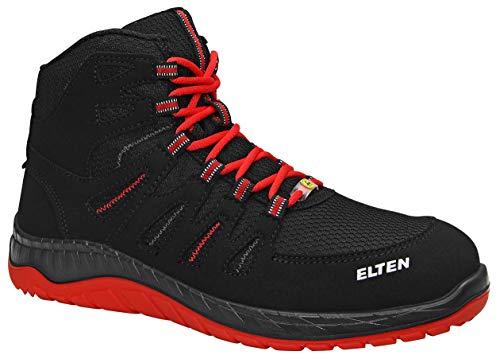 ELTEN Sicherheitsschuhe MADDOX Black-Red Mid S3, Herren, sportlich, leicht, schwarz/rot, Stahlkappe, Halbstiefel - Größe 44