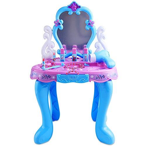 Dfghbn Juego de juguetes de maquillaje de princesa, juego de tocador, juego de tocador, tocador, tocador, casa de juguete, espejo de regalo, se puede girar (color: azul, tamaño: 42 x 26,5 x 66 cm)