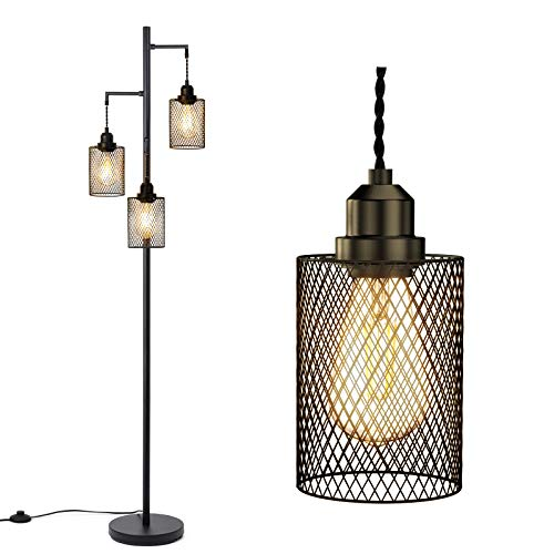addlon LED Industrial Floor Lamp for Living Room Farmhouse Rustic, with 3 Cage Heads Lights and 3...