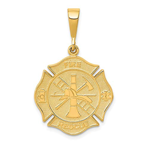 14k Yellow Gold Fire Rescue Pendant Charm Necklace Career Professional Firefighter Man Hobby Sport Profession Organization Fine Jewelry For Dad Mens Gifts For Him