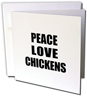 Peace Love and Chickens - Things that make me happy - Greeting Cards, 6 x 6 inches, set of 6 (gc_184850_1)