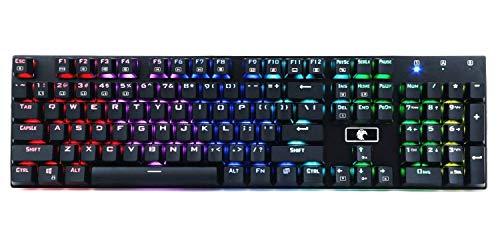 Aitalk Z88 - Teclado mecánico RGB, impermeable, teclado para gaming de 105 teclas sin conflictos, con botones azules desmontables, distribución QWERTZ (alemán), con cable USB, teclado retroiluminad
