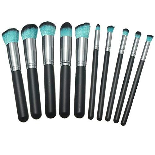 Best Luckyfine 10 Pcs Blue Makeup Brushes Eyeshadow Foundation Blush Cosmetic Set With Bag