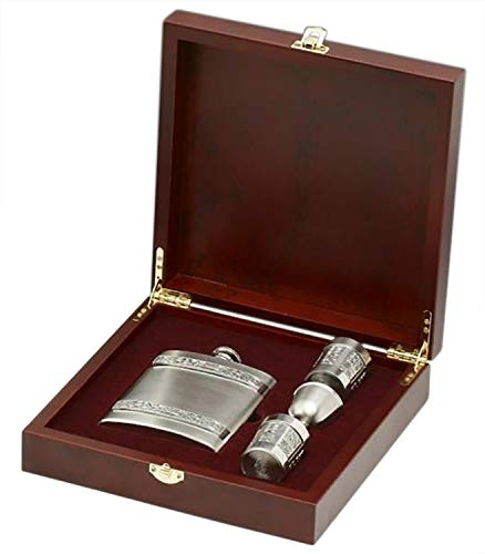 Irish 8oz Hip Flask and Shot Glasses Gift Set in a Wooden Presentation Keepsake Box by Mullingar Pewter