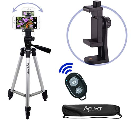 Acuvar 50' Smartphone/Camera Tripod with Rotating Mount & Wireless Camera Remote. Fits All Smartphones iPhone 11 Pro Max, 11 Pro, 11, Xs, Max, Xr, X 8, 8+, 7, 7 Plus, Android Note 10, S10+ etc.