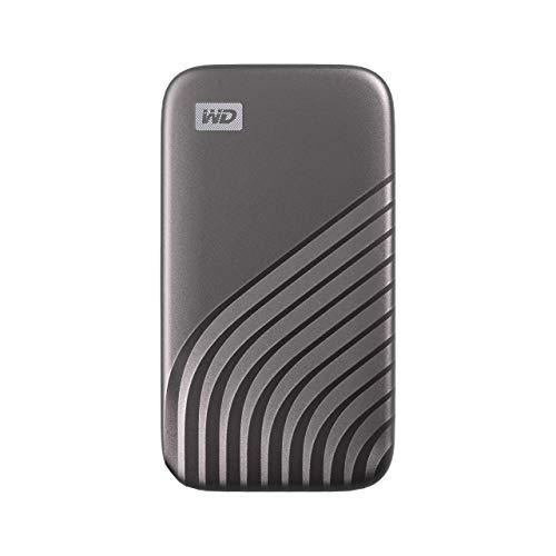 WD My Passport SSD 500 GB mobiler SSD Speicher (NVMe-Technologie, USB-C und USB 3.2 Gen-2 kompatibel, Lesen 1050 MB/s, Schreiben 1000 MB/s) dunkelgrau