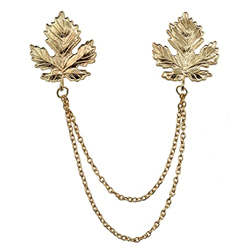 Oro doble hojas de arce broches alfileres camisa blusa cuello aguja borla alfileres de solapa cadena de metal broches hombres mujeres joyería regalos