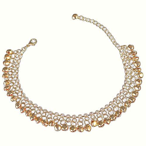 XdiseD9Xsmao Bell Tassel Anklet For Women Rhinestone Bracelet Jewelry Gift Golden