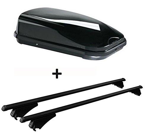 VDP Dachbox schwarz JUFL320 320 Liter abschließbar + Alu-Relingträger Tiger XL schwarz aufliegende Reling im Set kompatibel mit Audi Q3 8U ab 2011