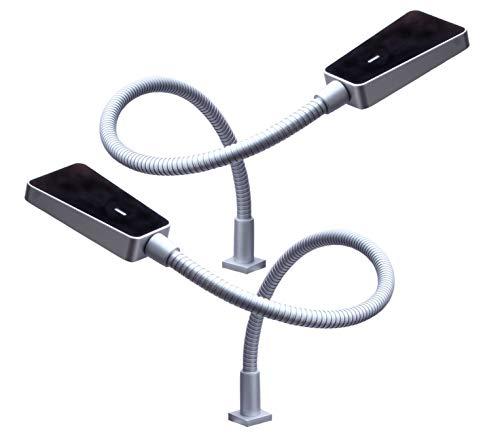 kalb | LED Bettleuchte dimmbar silbergrau Hochglanz schwarz - Leseleuchte Aufbauleuchte Nachttischlampe Bettlampe Leselampe, Größe:2er Set