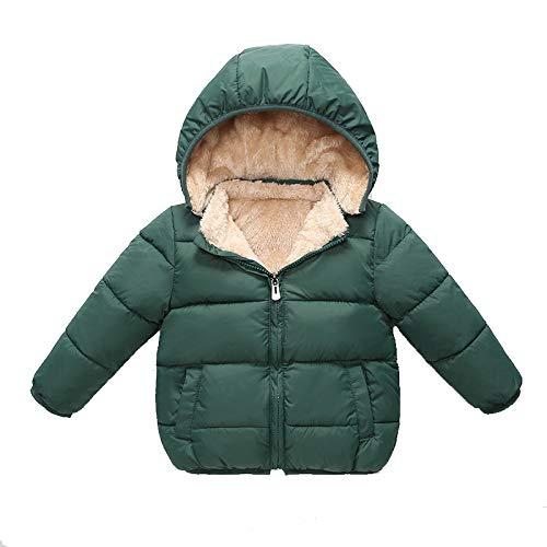 POUY Manteau en Coton d'agneau pour Enfants, Coton Doudoune garçon, Manteau bébé Fille, Protection Chaude et Froide, Manteau bébé coupe-vent-green-90cm
