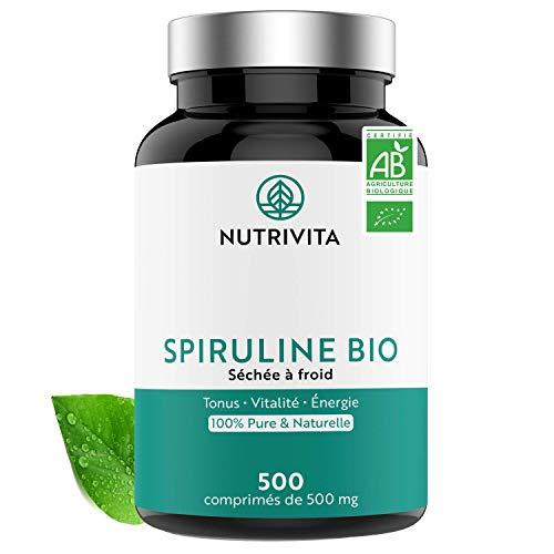 Bio Spirulina   500 Tabletten je 500mg   100% Rein & Natürlich   Zertifiziert Bio   Hochdosiert, Vegan und Ohne Zusätze   Nutrivita