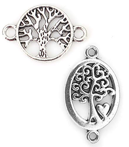 Tree of Life Charm Connectors, 96 Pack (48 of Each), Silver Tone 7/8 Inch