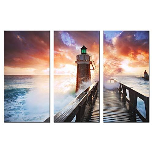 RHBNVR canvas, modern, canvas, HD, kunstdruk, 3-delig, brug, koplampen, zee, golven, zonsondergang, landschap, woonkamer, decoratie thuis