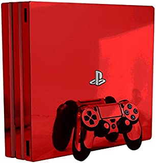 Red Chrome Mirror Vinyl Decal Faceplate Mod Kit for Sony PlayStation 4 Pro Console by System Skins