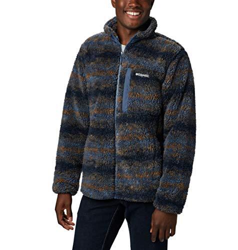 Columbia Men's Winter Pass Print Fleece Full Zip, Dark Mountain Blanket Print, Large