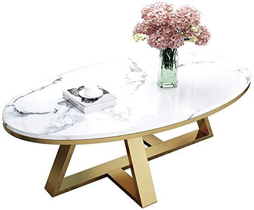 Couchtisch Beistelltische Kaffeetische Wohnzimmer-Tische Couchtisch Beistelltischee Eleganter ovaler Couchtisch Beistelltische, Cocktail-Laptop-Schreibtisch, Kunstmarmorplatte Metall Eisen Basis,