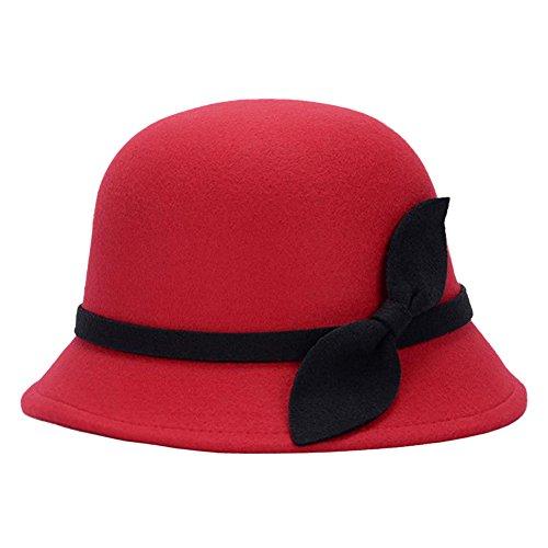 Demarkt Melonen Hut Filzhut Jazz Hut für Damen Elegantes Schmuck mit Bogen Deko aus Filz Kopfumfang von 57-58CM Rot