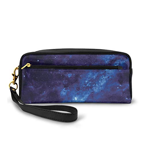 Pencil Case Pen Bag Pouch Stationary,Earth at Night from Deep Atmosphere Vibrant Milky Way Lights Starfield Ecliptic Scene,Small Makeup Bag Coin Purse