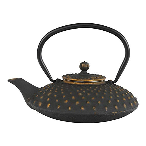 Tealøv TEEKANNE GUSSEISEN 1,25 Liter - Gusseisen Teekanne im japanischen Stil - Gusseiserne Teekanne mit Sieb aus Edelstahl - Hervorragende Wärmespeicherfähigkeit - Langlebig - Kambin Kupfer