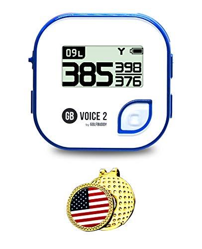 Desconocido GolfBuddy Voice 2Golf GPS/telémetro (40K + preinstalado en Todo el Mundo cursos) Bundle con Enganche para Gorra Marcador de Pelota (Bandera de EE. UU.)