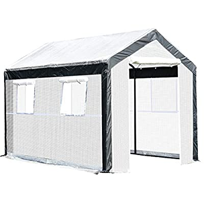 Outsunny Walk-in Garden Greenhouse Fully Enclosed with Extra Thick Steel Tubing, 4 Windows (Plus Screens), and 2 Zippered Doors for a Perfect Garden Haven, 10' L x 6.5' W x 6.5' H, White