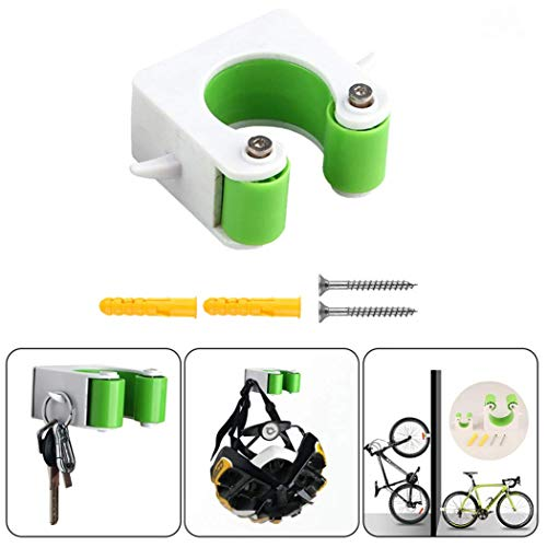 SeaISee Wall Mounted Bicycle Storage Clip for Indoor Garage Mountain Bike Display Rack(Green)