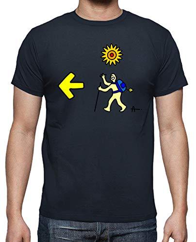 latostadora - Camiseta Santiago Pie n para Hombre Azul Marino L