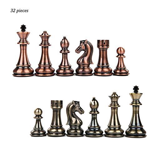 LH's stores Schach 32 Stück Beige und Braun Zink Legierung Dame Schachfiguren Kinder Intellektuelle Entwicklung Lernspielzeug Schach Dame Schachspiel (Color : Brass+Bronze)