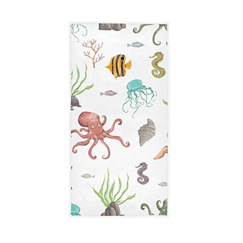 Aquarell Meer Pflanzen Korallen Seetang Schildkröte Seestern Handtuch Badelaken Badetuch Baumwolle Handtuch Gesichtstuch Ultra Weich und sehr saugfähig für Küche Badezimmer