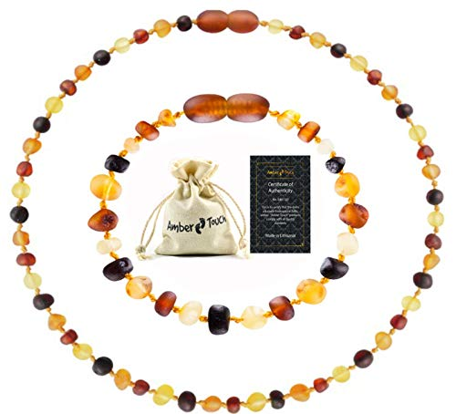 RAW Baltic Amber Necklace and Amber Bracelet - Natural Amber from Baltic Region, Genuine Amber (13in. and 5.5in.)