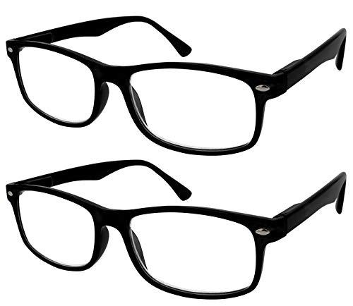 TBOC Gafas de Lectura Presbicia Vista Cansada - (Pack 2 Unidades) Graduadas +2.00 Dioptrías Montura de Pasta Negra Mate Diseño Moda Hombre Mujer Unisex Lentes de Aumento para Leer Ver de Cerca
