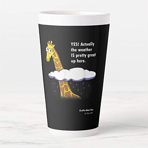 Taza de café con leche de 17 onzas, divertida jirafa – Actually Wear is Great Up Here, taza de café, taza de té, divertida taza de té o café
