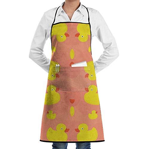 Gummiente (rosa) Schürze mit Taschen für und Frauen, Koch, Küche, Restaurant, Grill, Grill, Backen