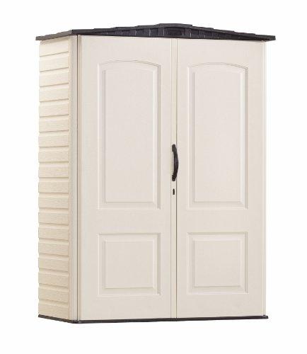 Rubbermaid Storage Shed 5x2 Feet, Sandalwood/Onyx Roof, Weather Resistant Outdoor Garden Storage Shed for Backyard, Garden, Tool Storage, Lawn, Garage Organizer, Sandstone