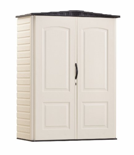 Rubbermaid Small Vertical Resin Weather Resistant Outdoor Garden Storage Shed, 5x2 Feet, Sandstone