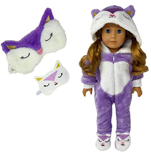 MY GENIUS DOLLS Clothes - Fox Onesie Pajama with Matching Sleepover Masks - Clothes for 18 inch Dolls Like Our Generation, My Life, American Girl Doll. Accessories for Slumber Party Favor