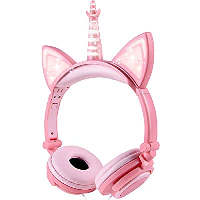 Unicorn Kids Headphones, Glowing Cat Ear Headphones with 85db Volume Limit, Foldable Headphones for Kids Girls from esonstyle