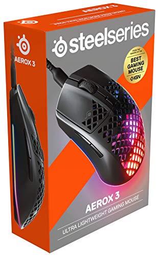 SteelSeries Aerox 3 - Superleichte Gaming-Maus - Optischer TrueMove Core Sensor mit 8.500 CPI- Ultraleichtes, wasserfestes Design - Schwarz - 9