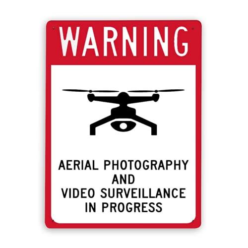 Letreros de metal,fotografía aérea de advertencia de responsabilidad de drones y videovigilancia en curso,12 x 16 pulgadas,letrero de aviso,letrero de advertencia y decoración de logotipo