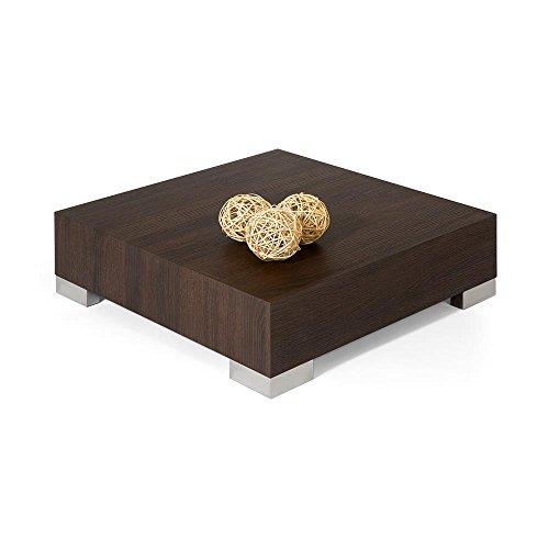 Mobilifiver Table Basse, iCube 60, Chêne foncé, 60 x 60 x 18 cm, Mélaminé/Acier INOX satiné, Made in Italy