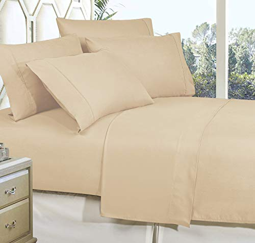 CELINE LINEN Best, Softest, Coziest Bed Sheets Ever! 1800 Thread Count Egyptian Quality Wrinkle-Resistant 4-Piece Sheet Set with Deep Pockets 100% Hypoallergenic, King Cream/Tan