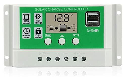 ZHBD 20A Controlador De Carga Solar 12V / 24V Auto, Regulador De Panel Solar con Doble USB, Pantalla Ajustable Parámetro LCD Pantalla LCD Y Configuración De Temporizador,30A