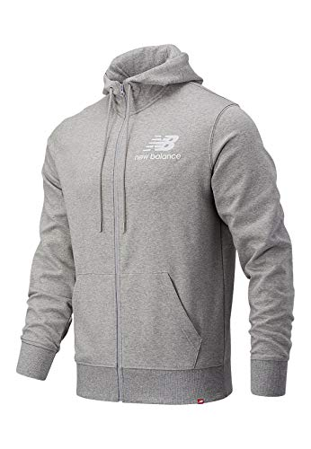 New Balance NB Essentials Stacked Full Zip Hoodie Sudadera, Athletic Grey, L para Hombre