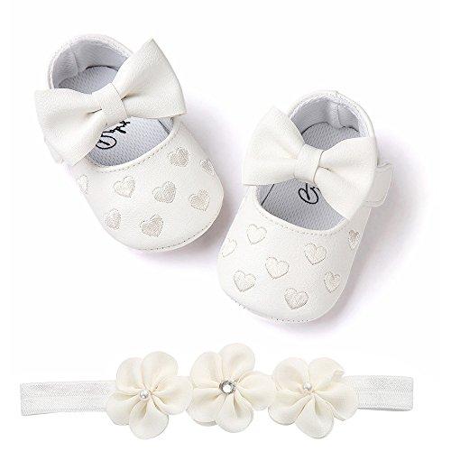 Bébé Fille Chaussures Ballerines Dentelle+Bandeau Fleur Ensemble Anniversaire Baptême Cérémonie Bambin bebe 0-18mois Semelle Souple Anti-dérapant Princesse Chaussures (11(0-6mois), Coeur A)